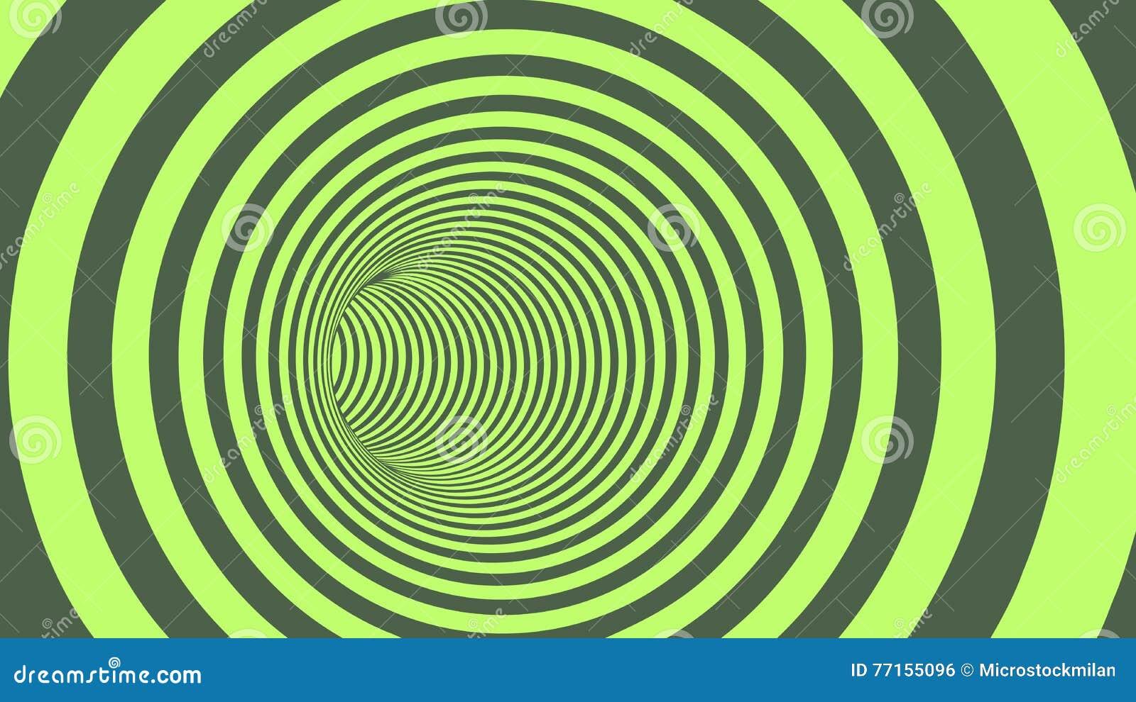 Tunnel abstrait rayé de cercle vert