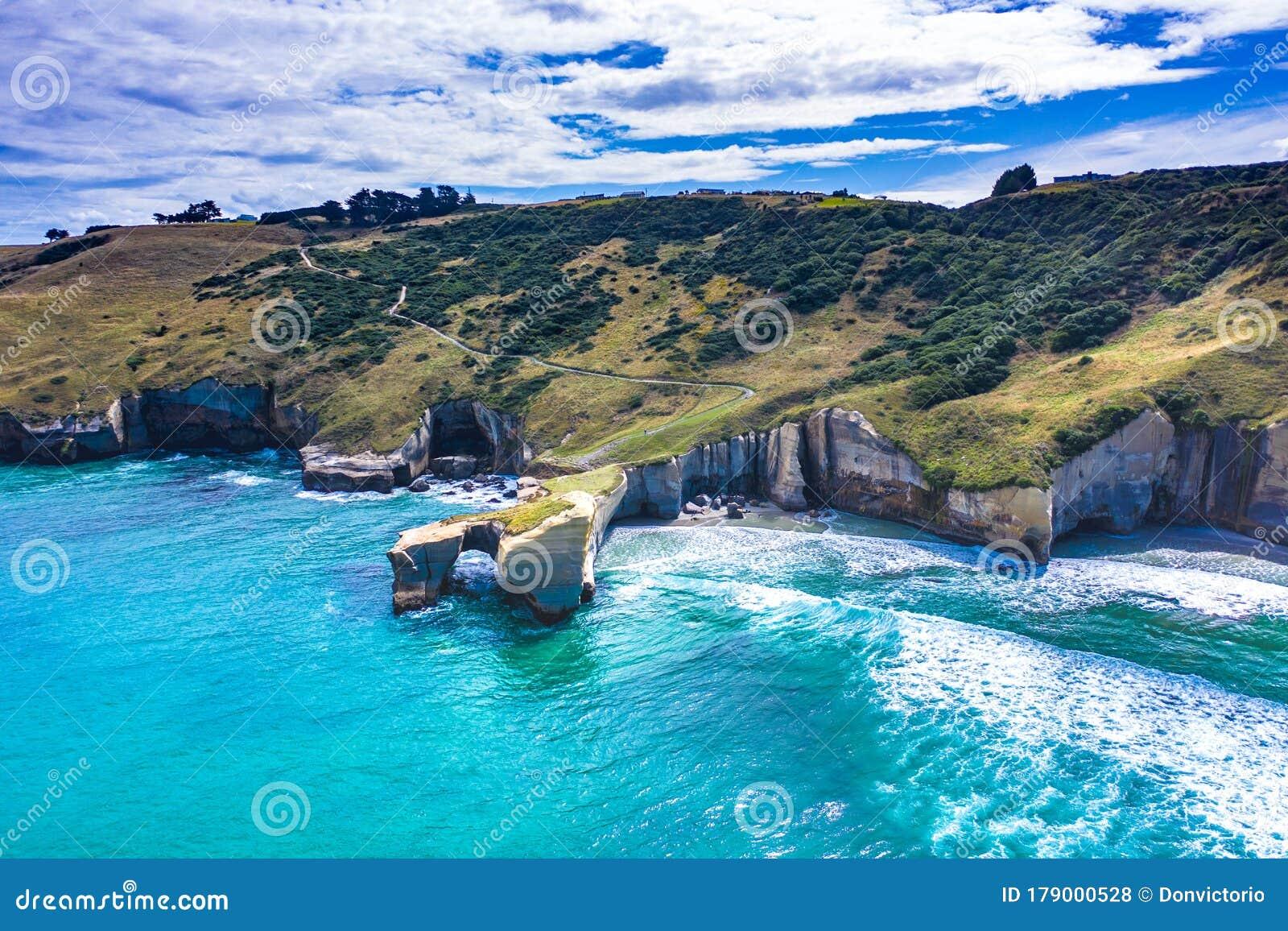 Tunnel Beach Dunedin New Zealand Aerial View Stock Photo Image Of Landscape Coastline 179000528