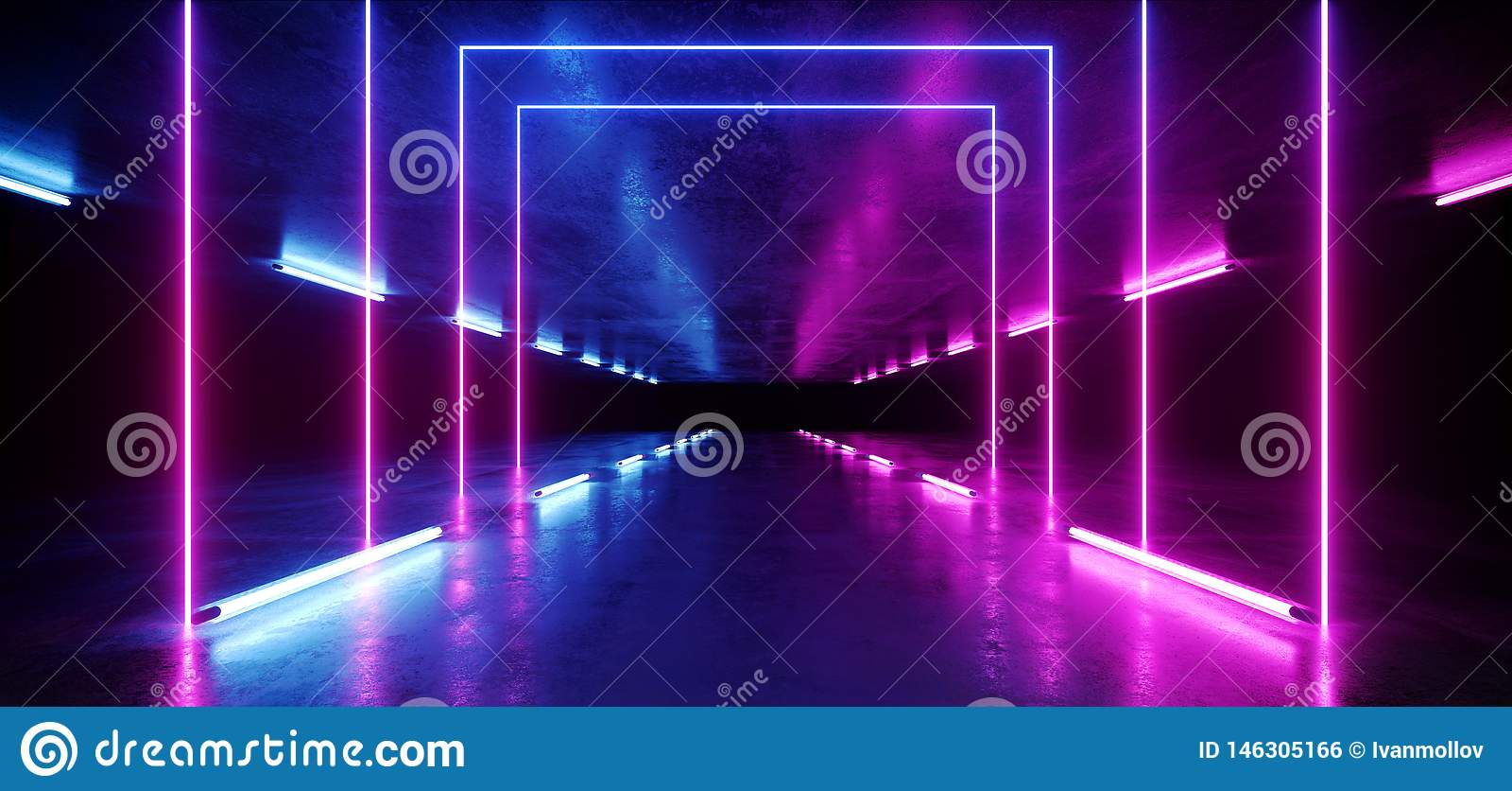 Tunnel fonc? rougeoyant de rose de fond au n?on vibrant de r?alit? virtuelle futuriste bleue pourpre de Violet Path Track Gate En