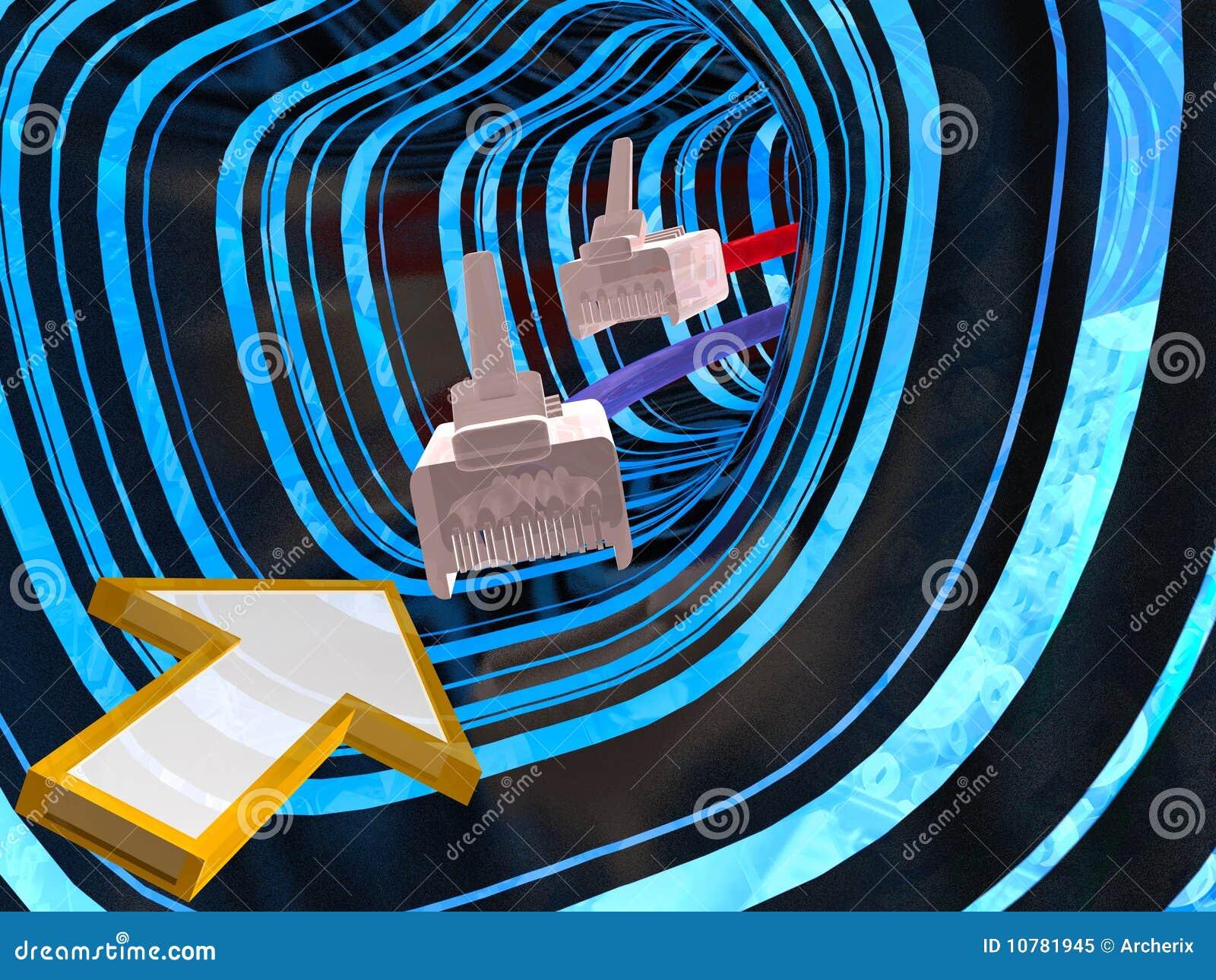 Tunnel, kabels en pijl
