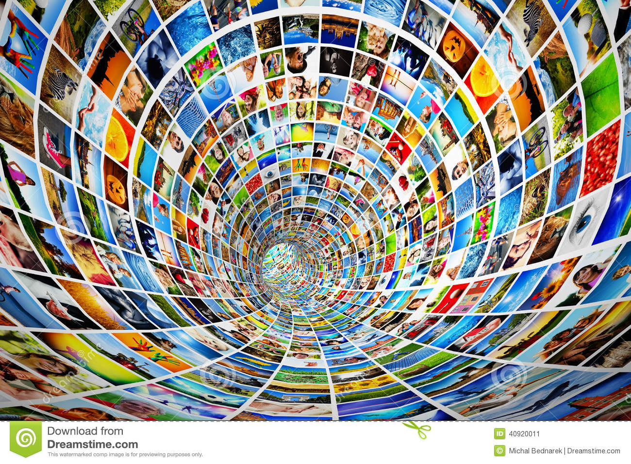 Tunnel of media, images, photographs