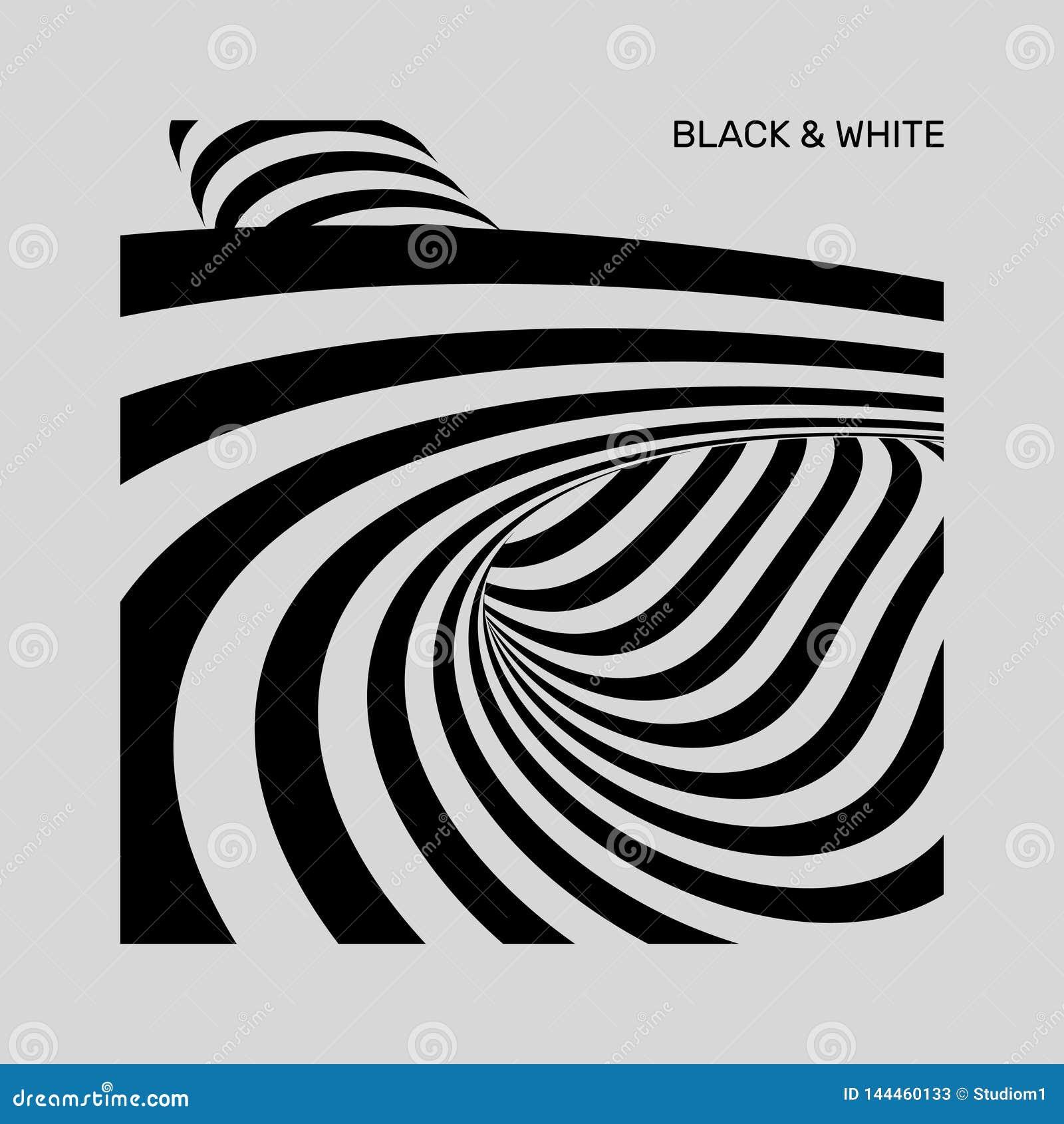 Tunnel Optische illusie Zwart-witte abstracte gestreepte achtergrond 3d vectorillustratie