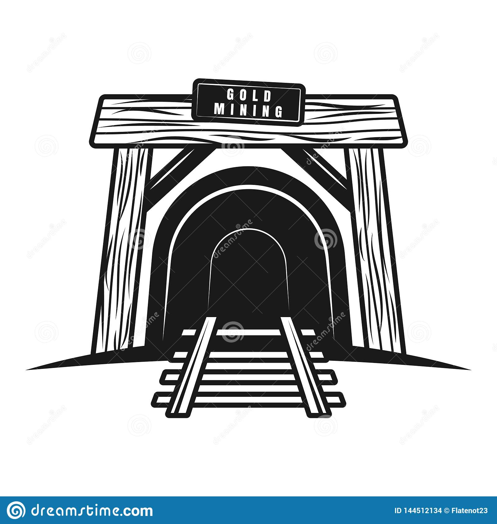 Entrance In Mine Tunnel With Railway Vector Object Stock