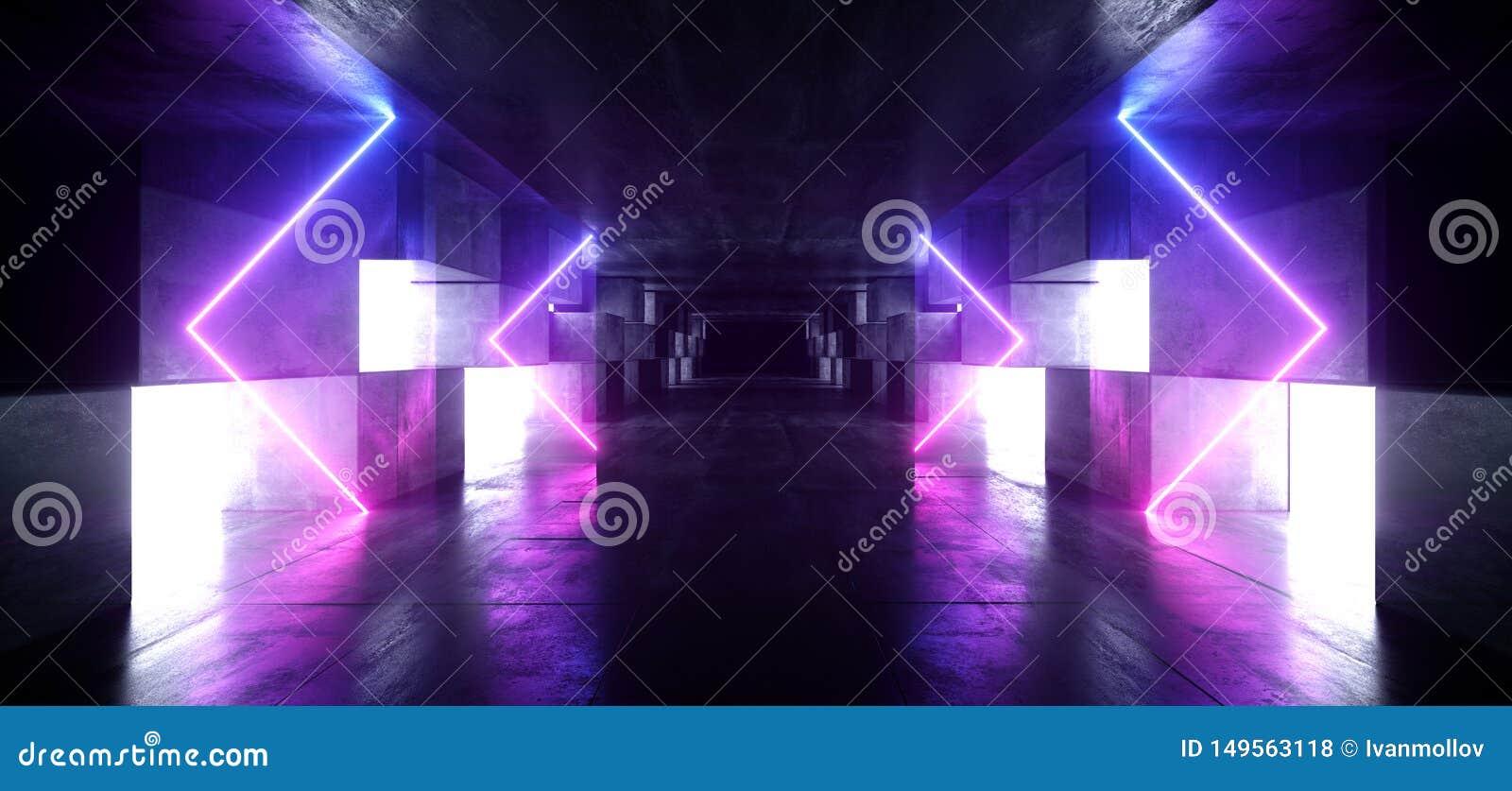 Tunnel-Studio-Stadiums-Bau-Garagen-Podium Neonlicht-Pfeil-Grafik glühendes purpurrotes blaues vibrierendes virtuelles Sci FI futu
