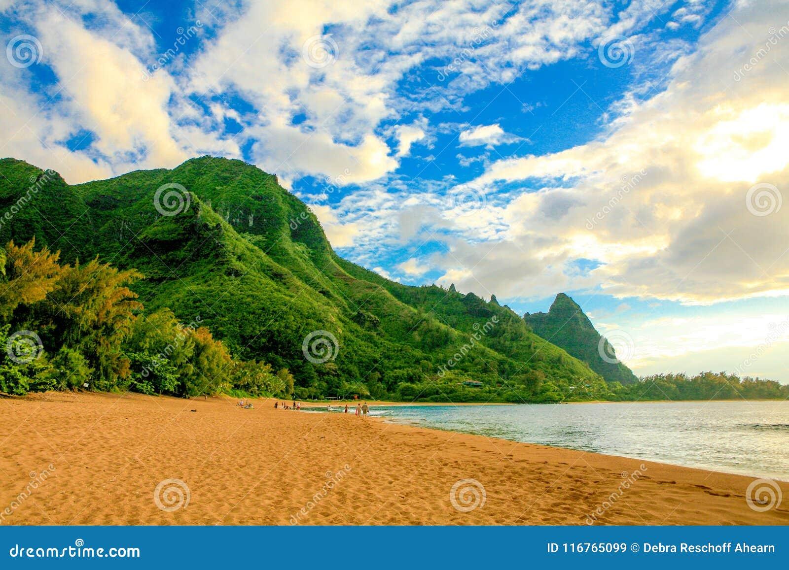 Where Is Bali Hai Island tunnels beach, with makana mountain or bali hai stock image