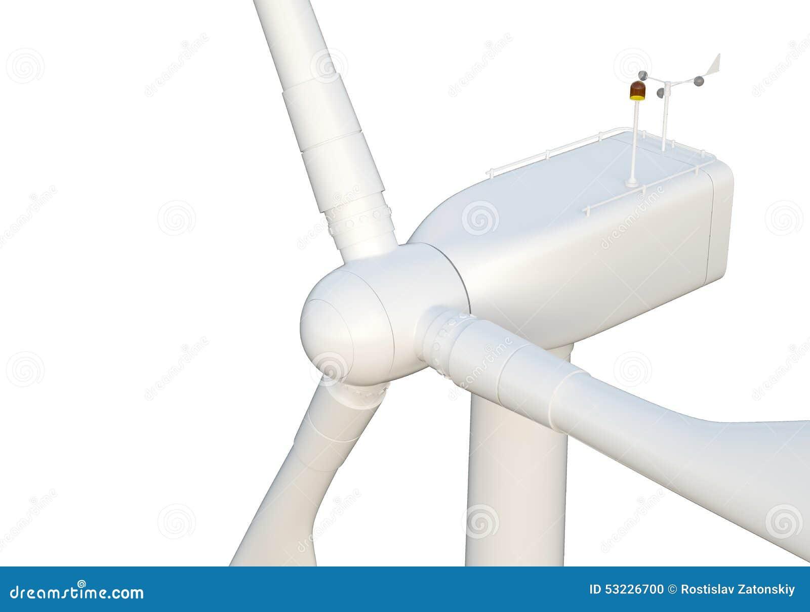 Turbina de viento aislada en el fondo blanco