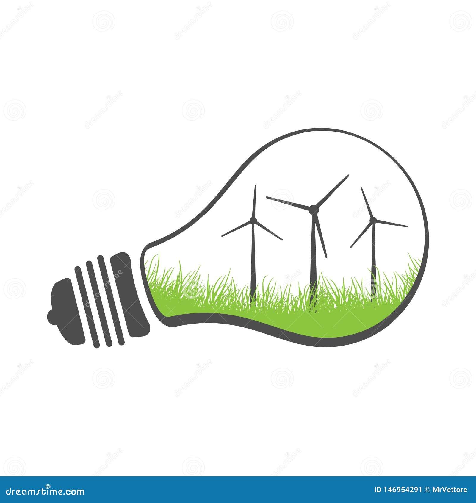 Turbina de viento del concepto de la energía de Eco en una bombilla Ejemplo limpio de la energía renovable del vector Aislado en