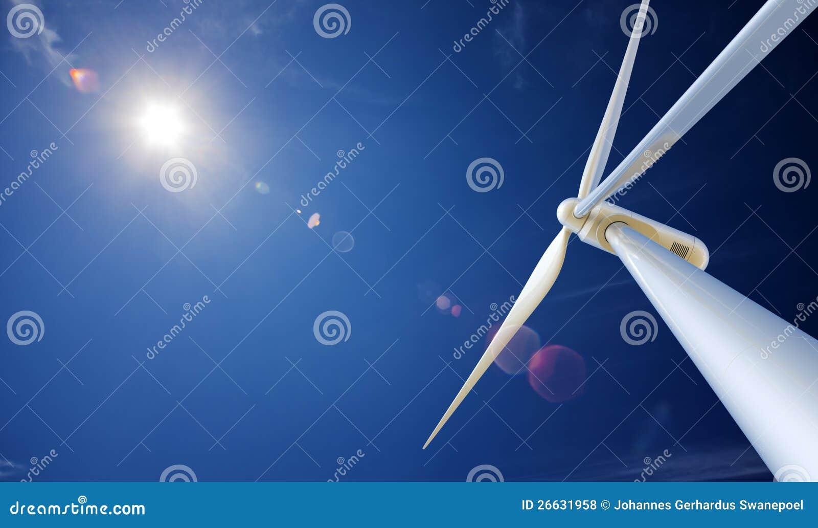 Turbina e sol de vento de abaixo