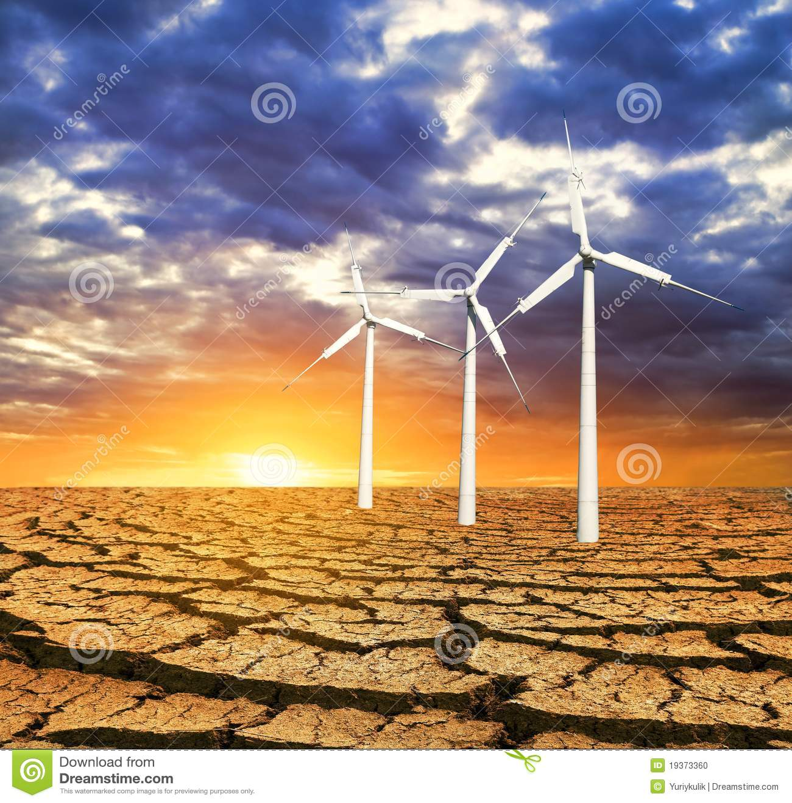 Turbinas de vento em uma terra seca