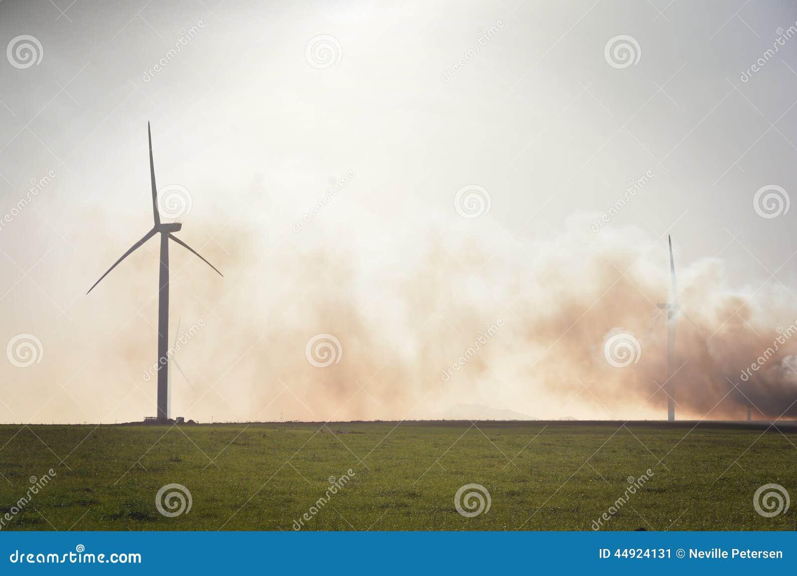 Turbinas de viento en campo verde
