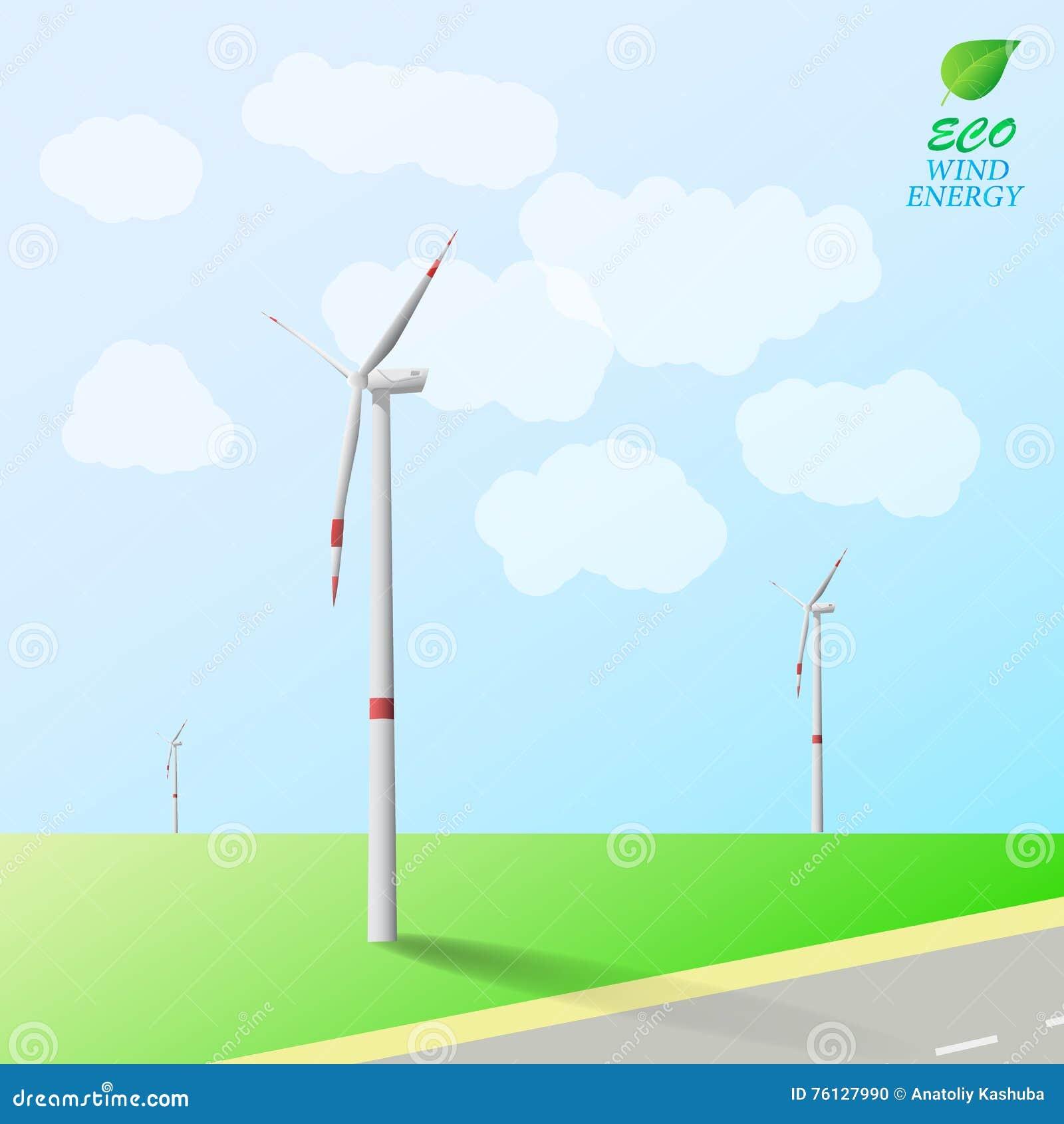 Turbinas de viento en el fondo del campo y del camino