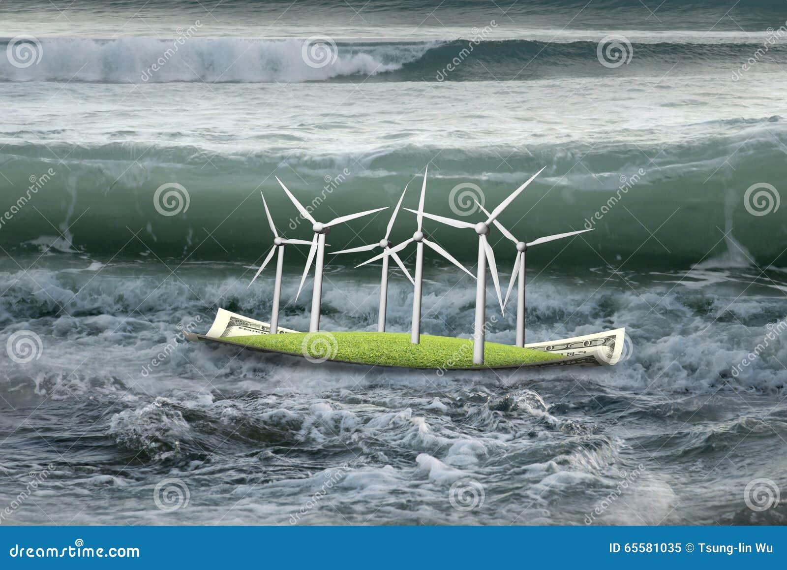 Turbinas eólicas no barco do dinheiro com a onda próxima no oceano