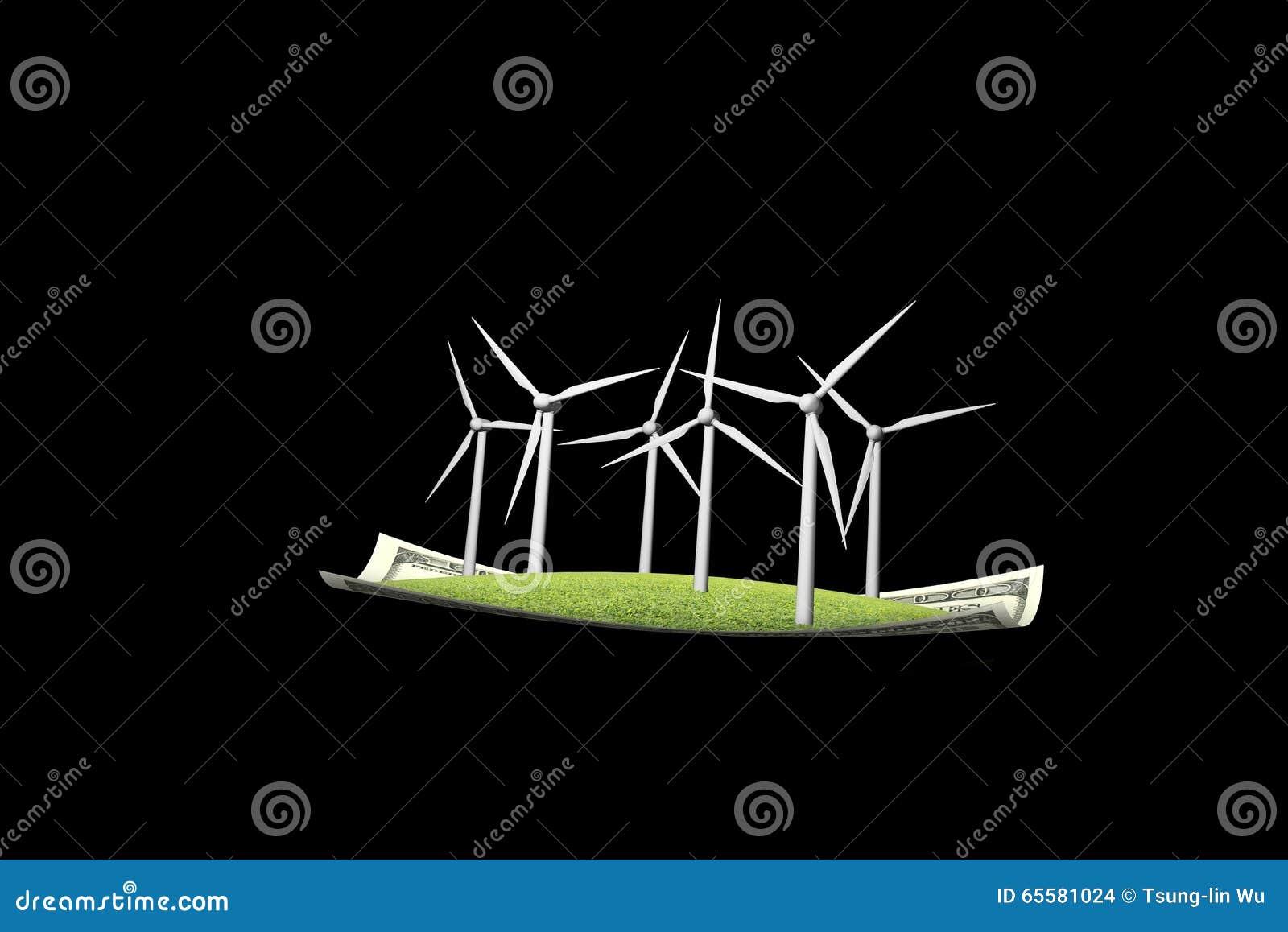 Turbinas eólicas no preto do tapete de voo n do dinheiro