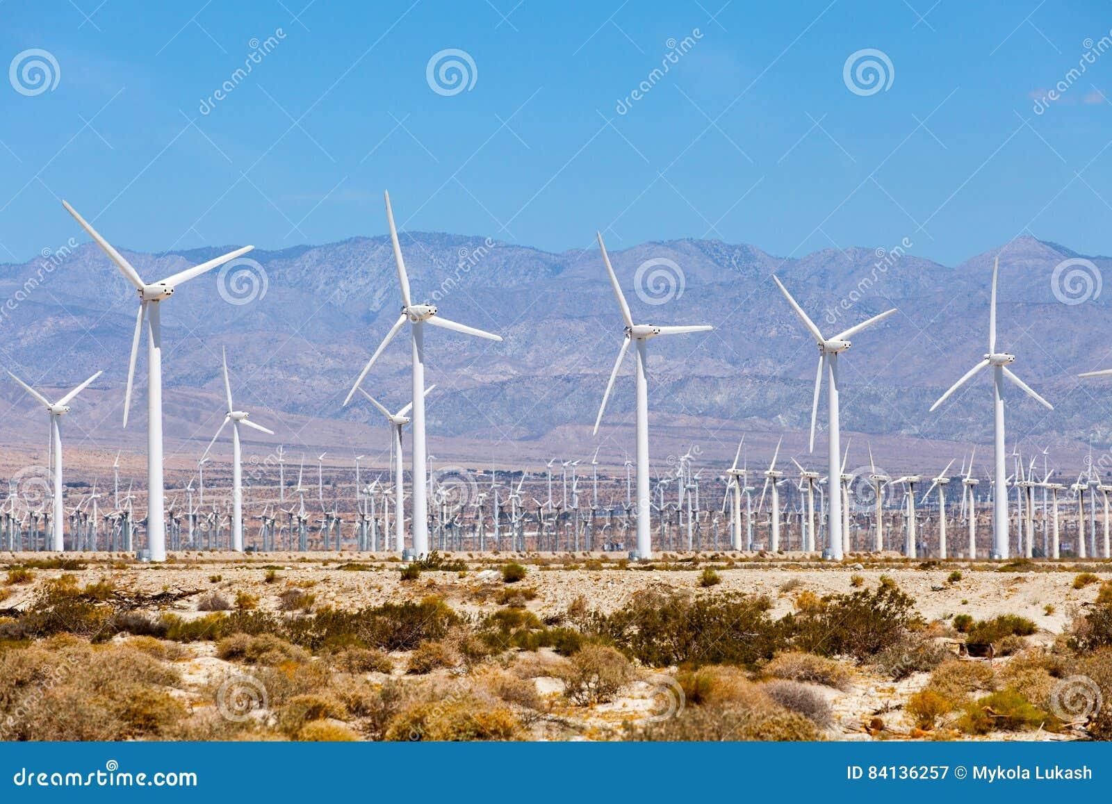 Turbinas para a produção da energia elétrica, ramos dos moinhos de vento da palma, Califórnia Simples da energia limpa
