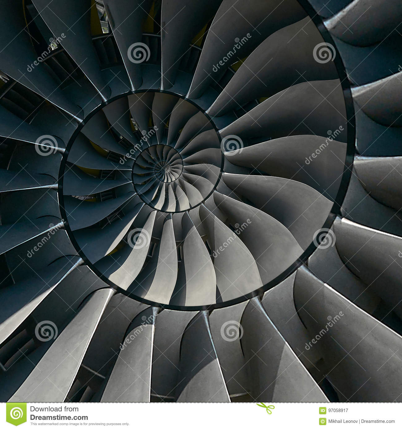 Turbine blades wings spiral effect abstract fractal pattern background. Spiral industrial production metallic turbine background.