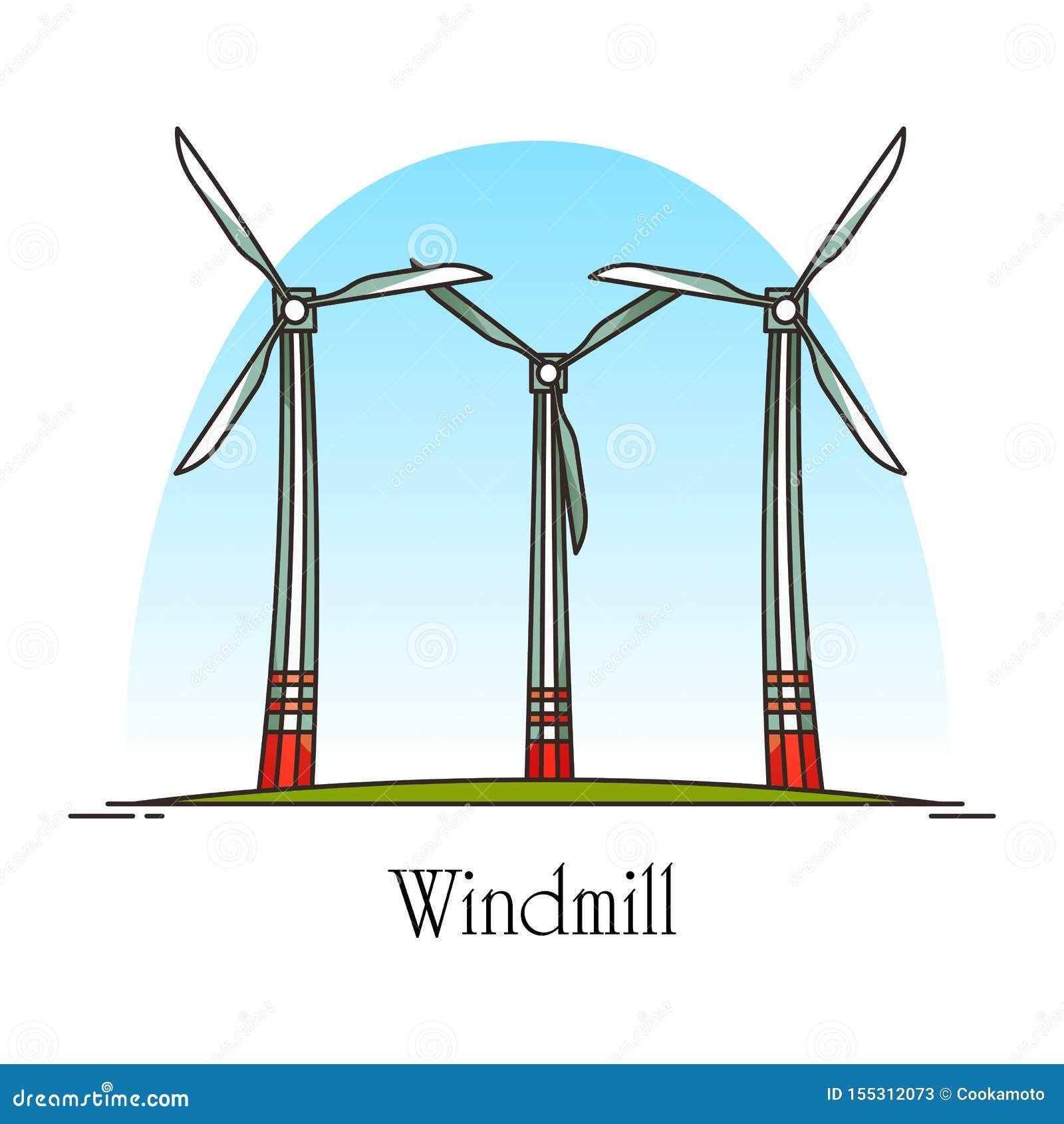 Turbine de vent de bande dessinée ou moulin à vent d énergie de rotation