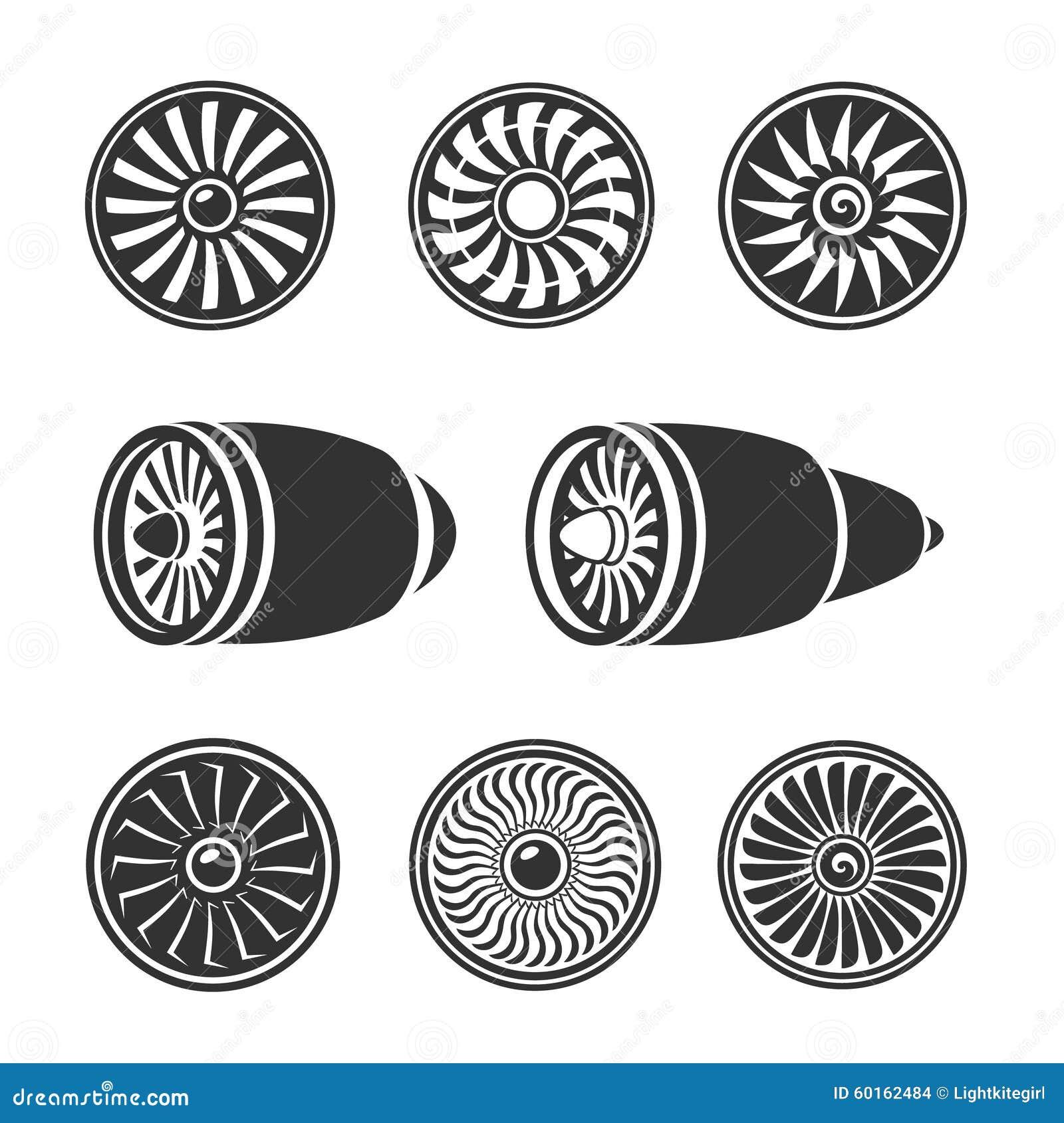turbines icons set  airplane engine silhouettes stock