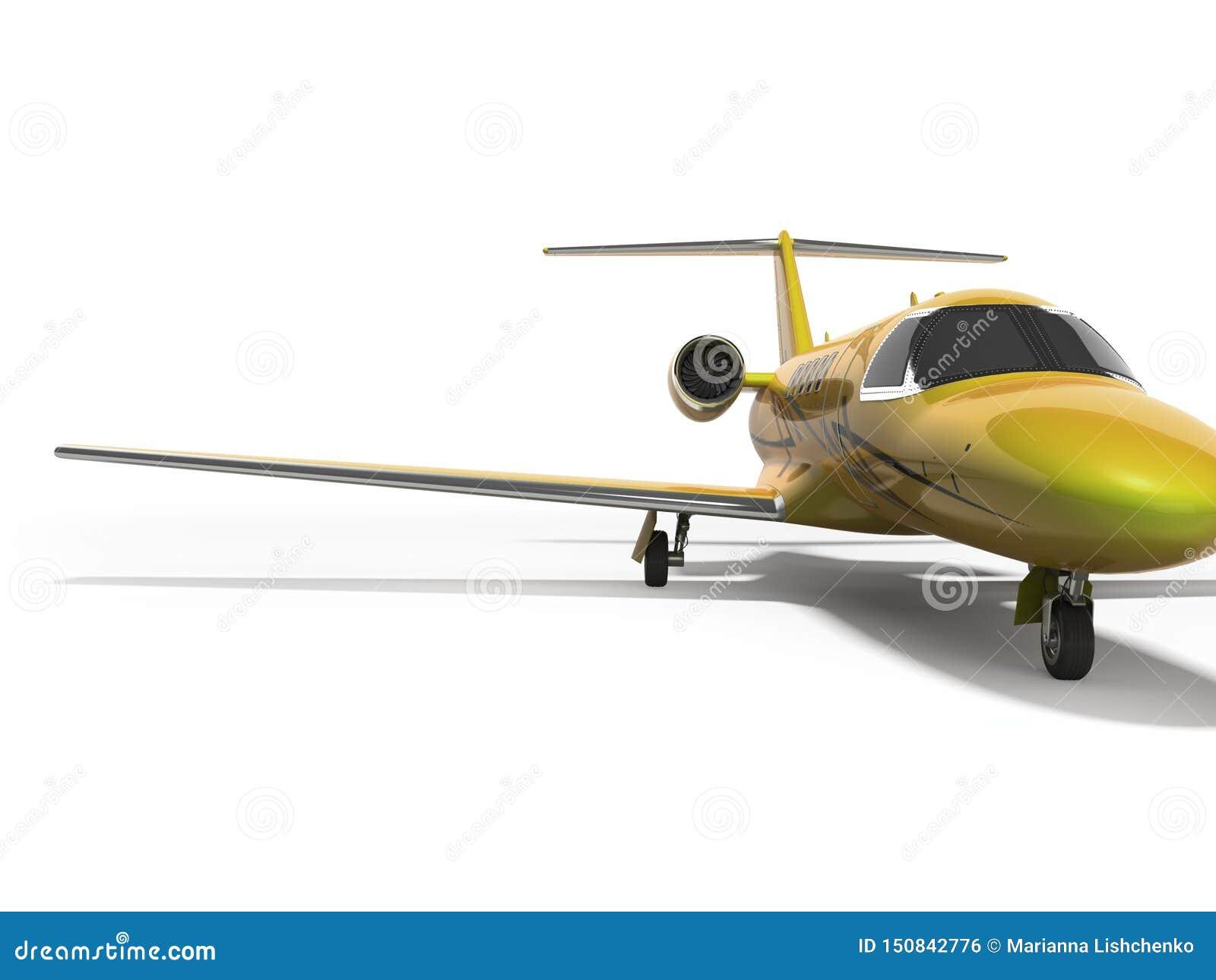 Turbo avion privé 3D de concept rendre sur le fond blanc avec l ombre