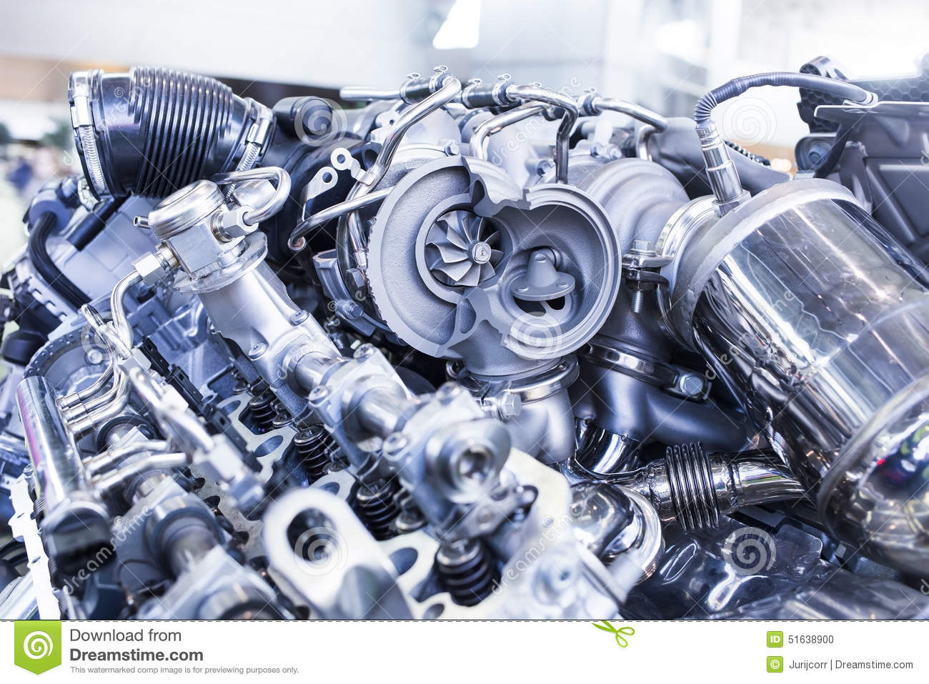Turbo Car Engine Showing Inner Parts And Turbine Stock