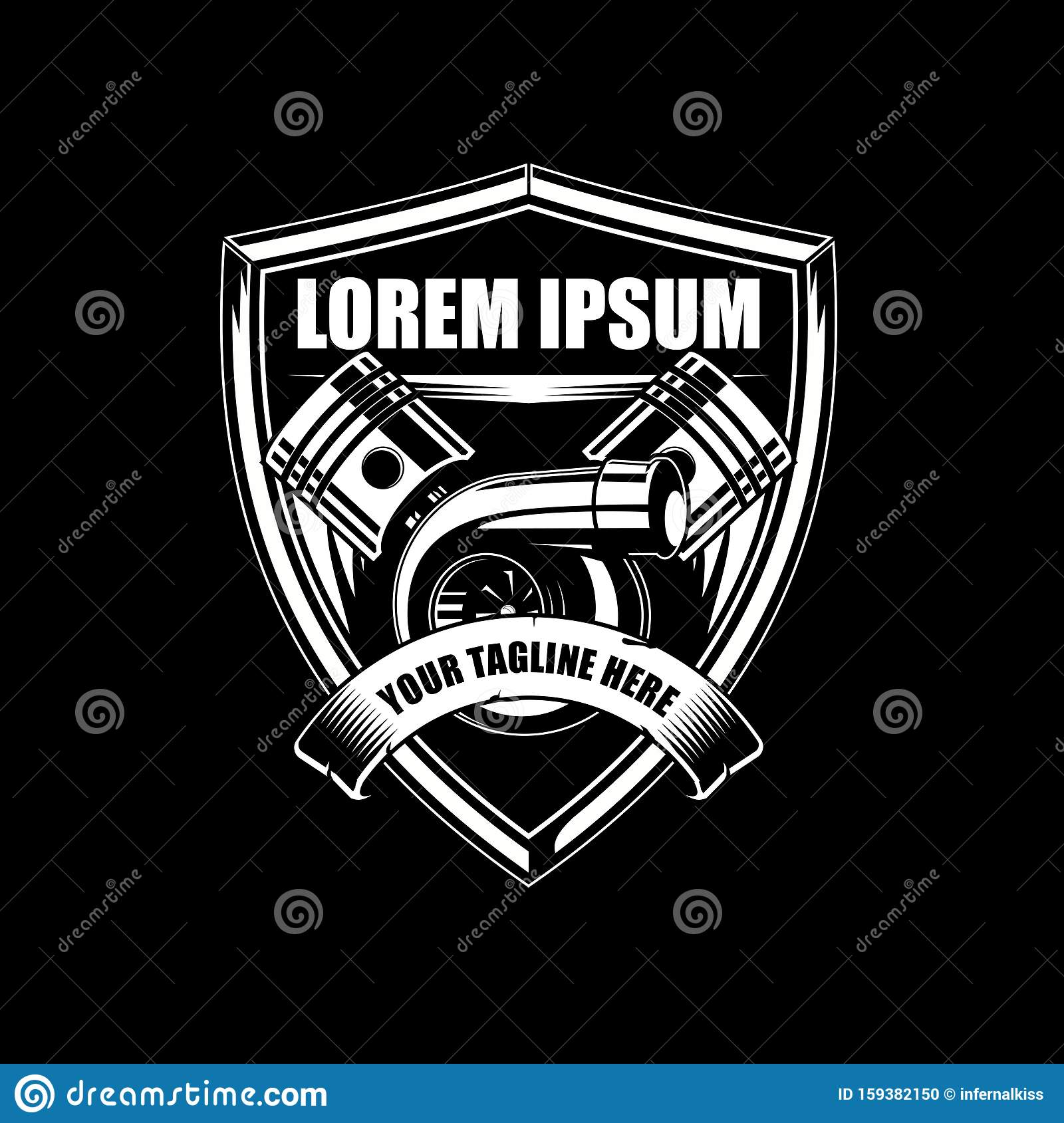 Speed Car Logo Template: Turbo Charger With Piston Vector Badge Shield Or Crest