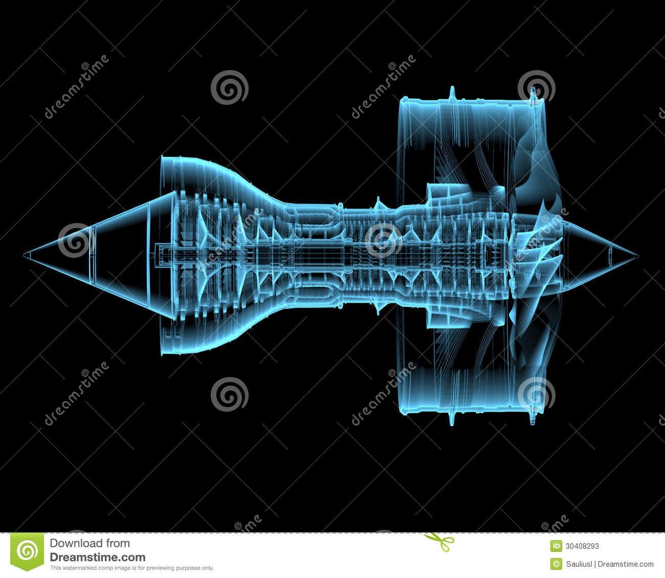 Turbo Jet Engine 3d Xray Blue Transparent Stock Photos