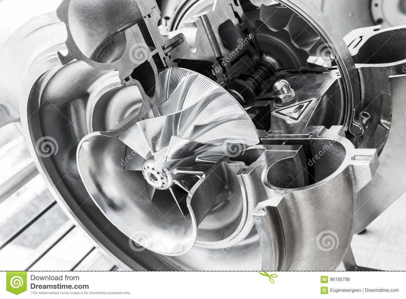 Turbocharger Structure With Cross Section Stock Photo