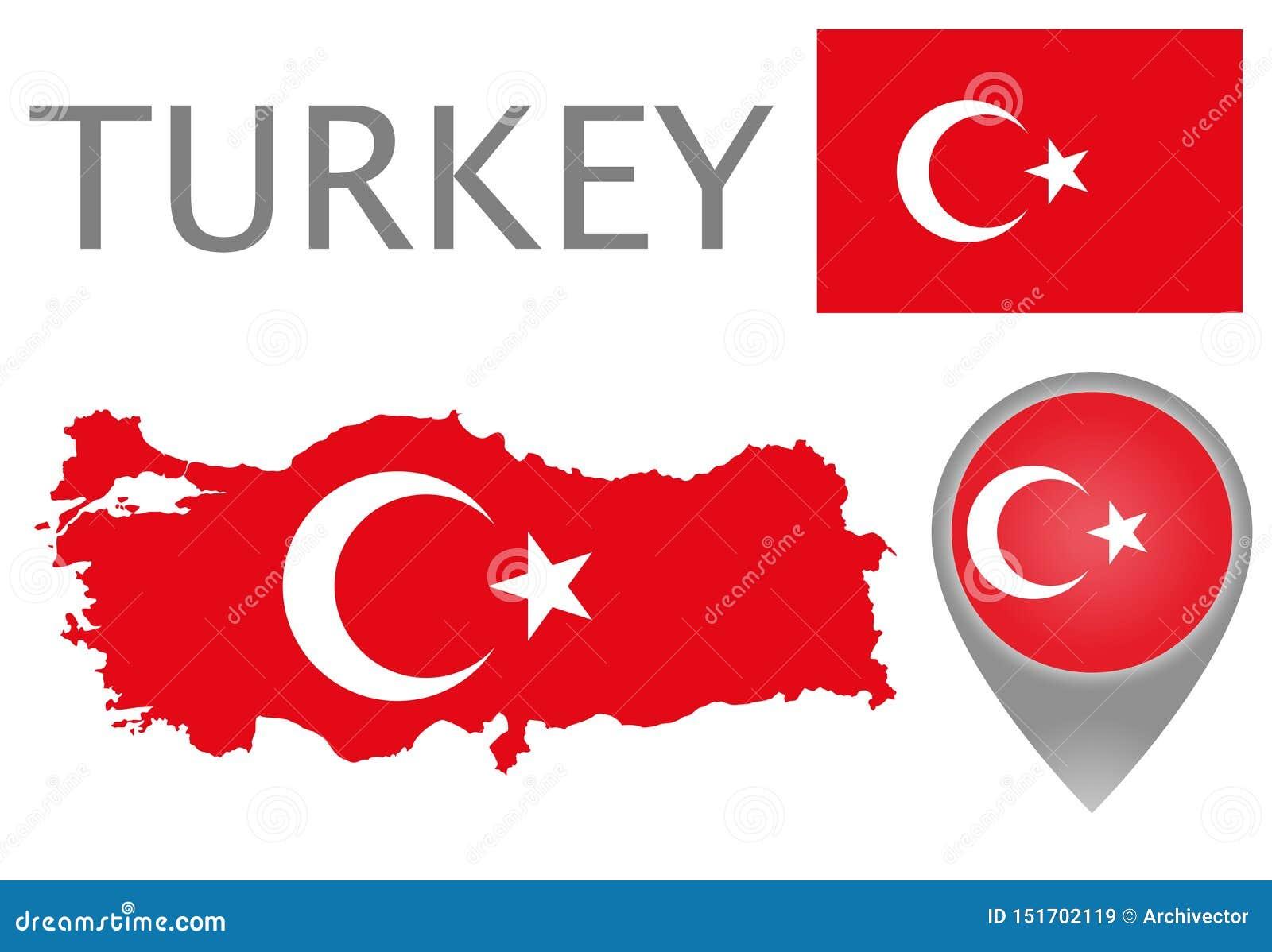 Turcja flaga, mapa i mapa pointer,