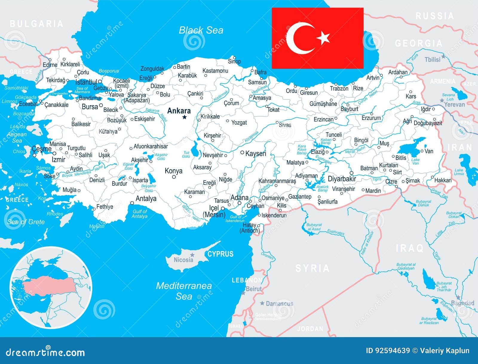 Turcja Mapa I Flaga Ilustracja Ilustracji Ilustracja