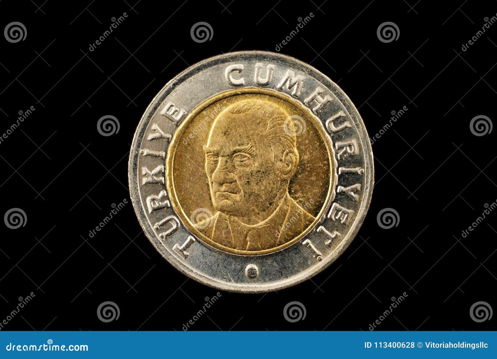 Turecczyzna Jeden lir dwumetaliczna moneta Odizolowywająca Na czerni