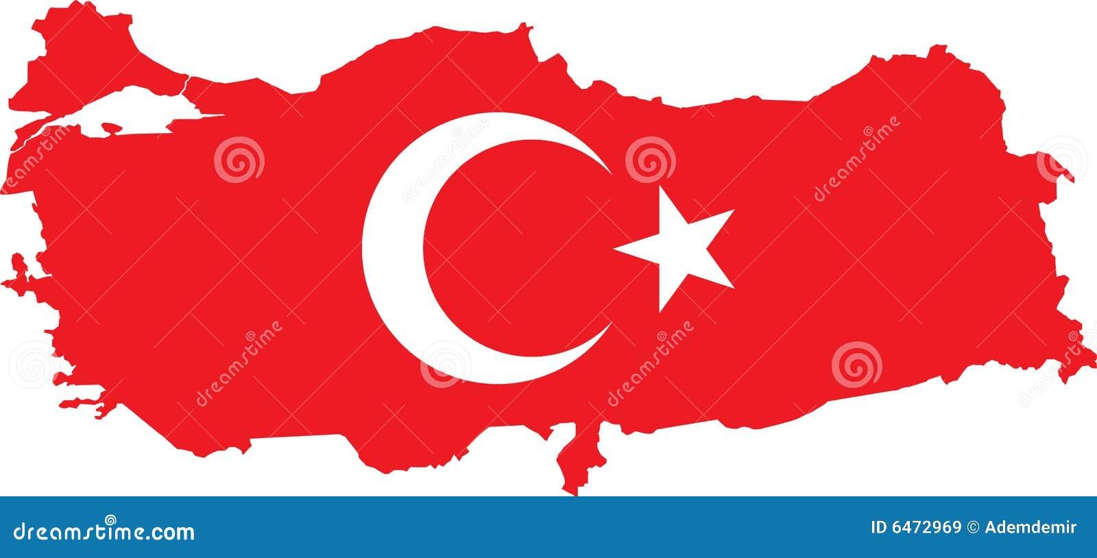 Turecka flaga zostanie opuszczona mapy wektora