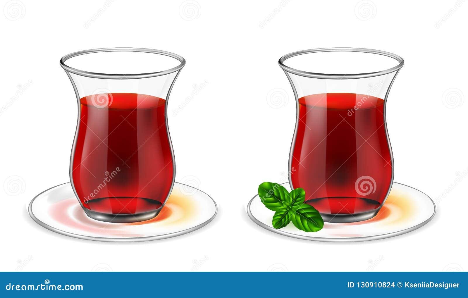 Turecka herbaciana filiżanka z czarną herbatą i mennicą