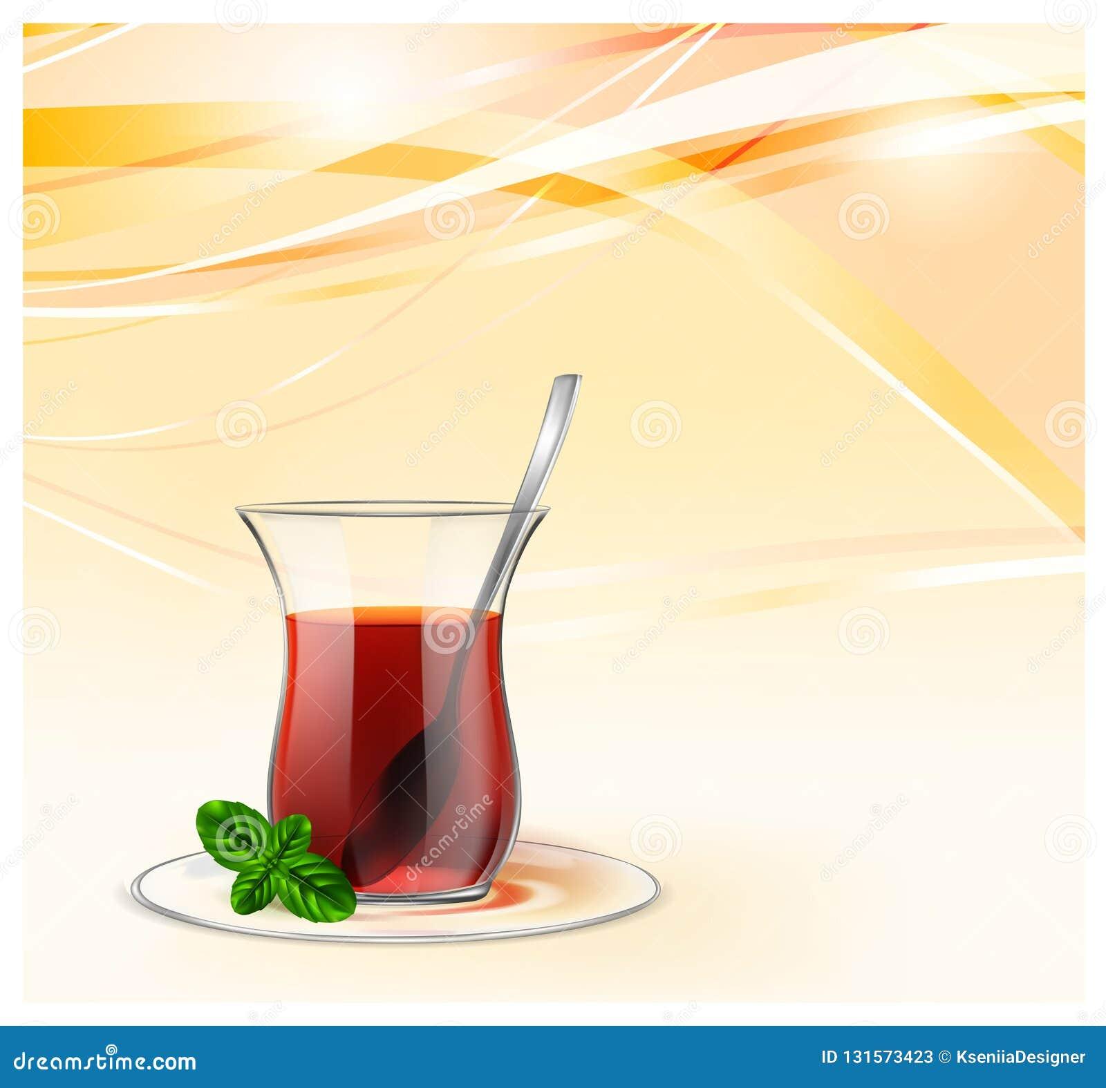 Turecka herbaciana filiżanka z czarną herbatą, srebną łyżką i mennicą na kolorze żółtym, macha tło Herbaciana ilustracja dla rekl