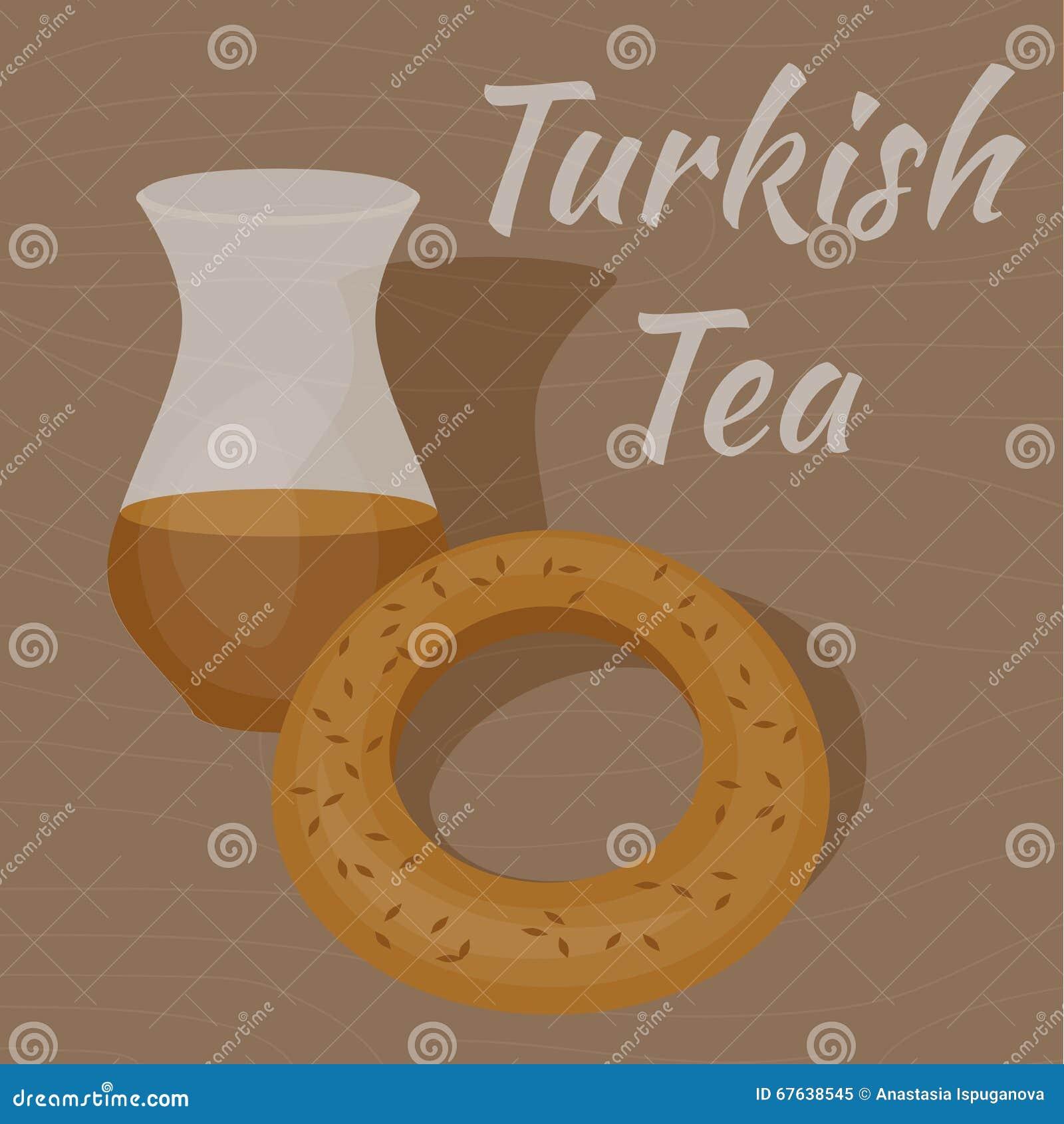 Turecka Herbaciana filiżanka z tradycyjnym bagel