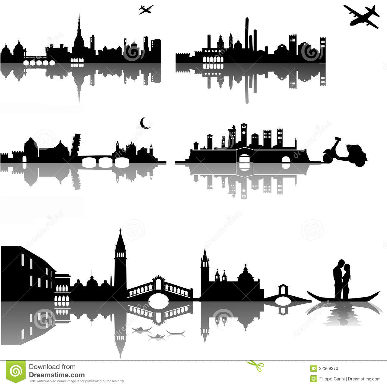 Composition of five Italian cities represented with simple silhouettes ...