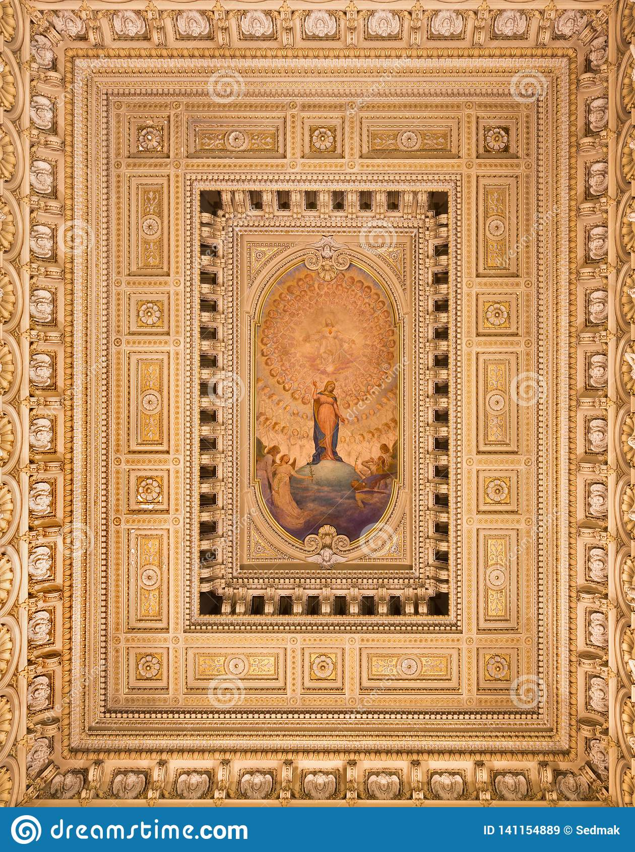TURIN, ITALY: The ceiling fresco of Immaculate Conception and Heart of Jesus in side chapel of church Chiesa di Santo Tomaso