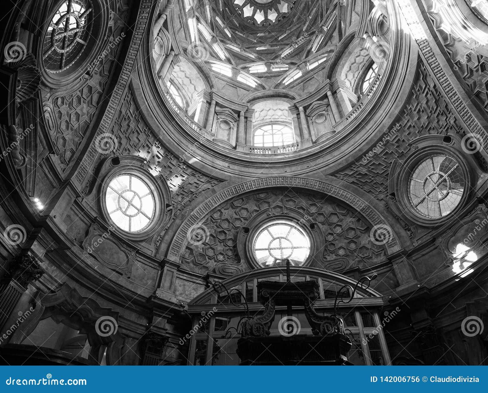 Cappella Della Sindone Dome In Turin In Black And White