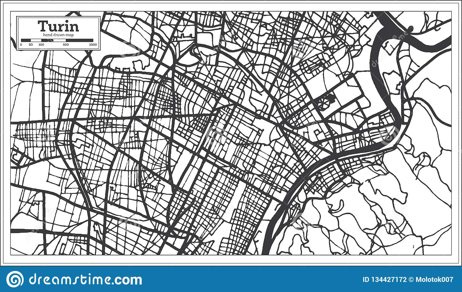 Turin Italy City Map In Retro Style Outline Map Stock Vector