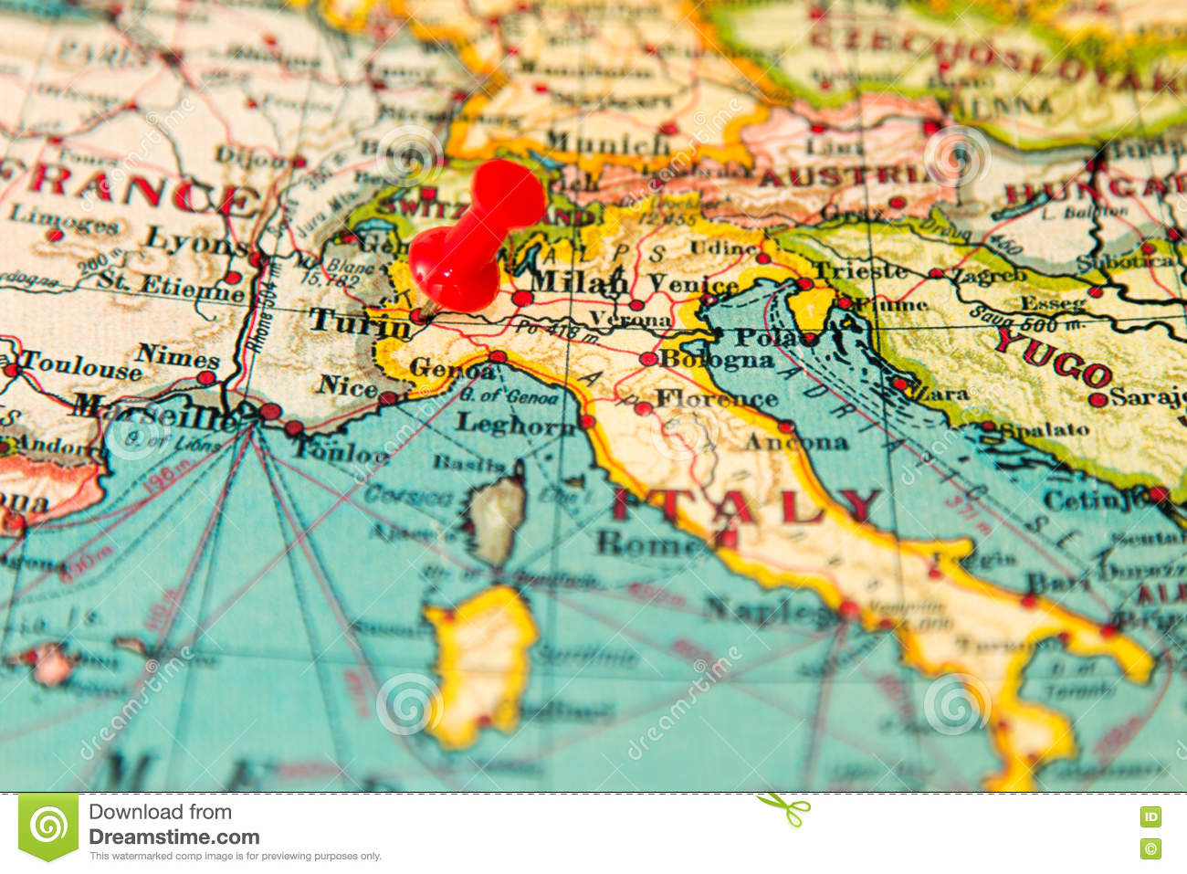 Turin Italy Pinned On Vintage Map Of Europe Stock Image Image Of
