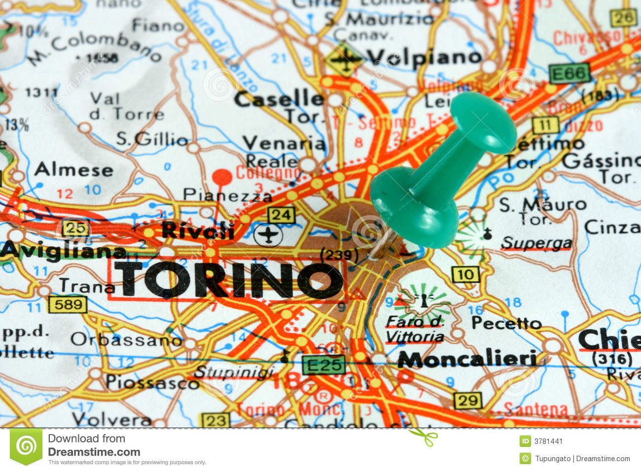 Map Of Italy Torino.Turin On The Map Stock Image Image Of Pinned Route