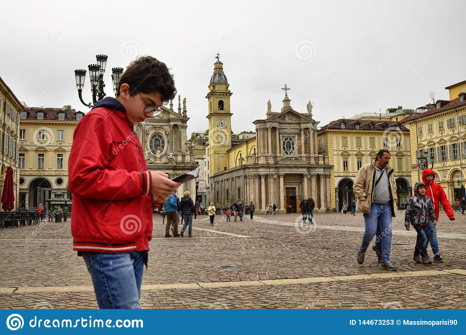 Turin, Piedmont, Italy. April 2019. Piazza San Carlo