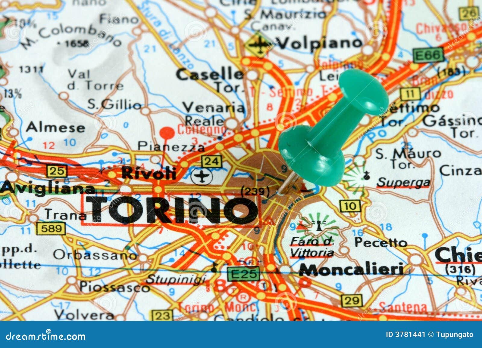 Turin sur la carte image stock. Image du place, italien   3781441