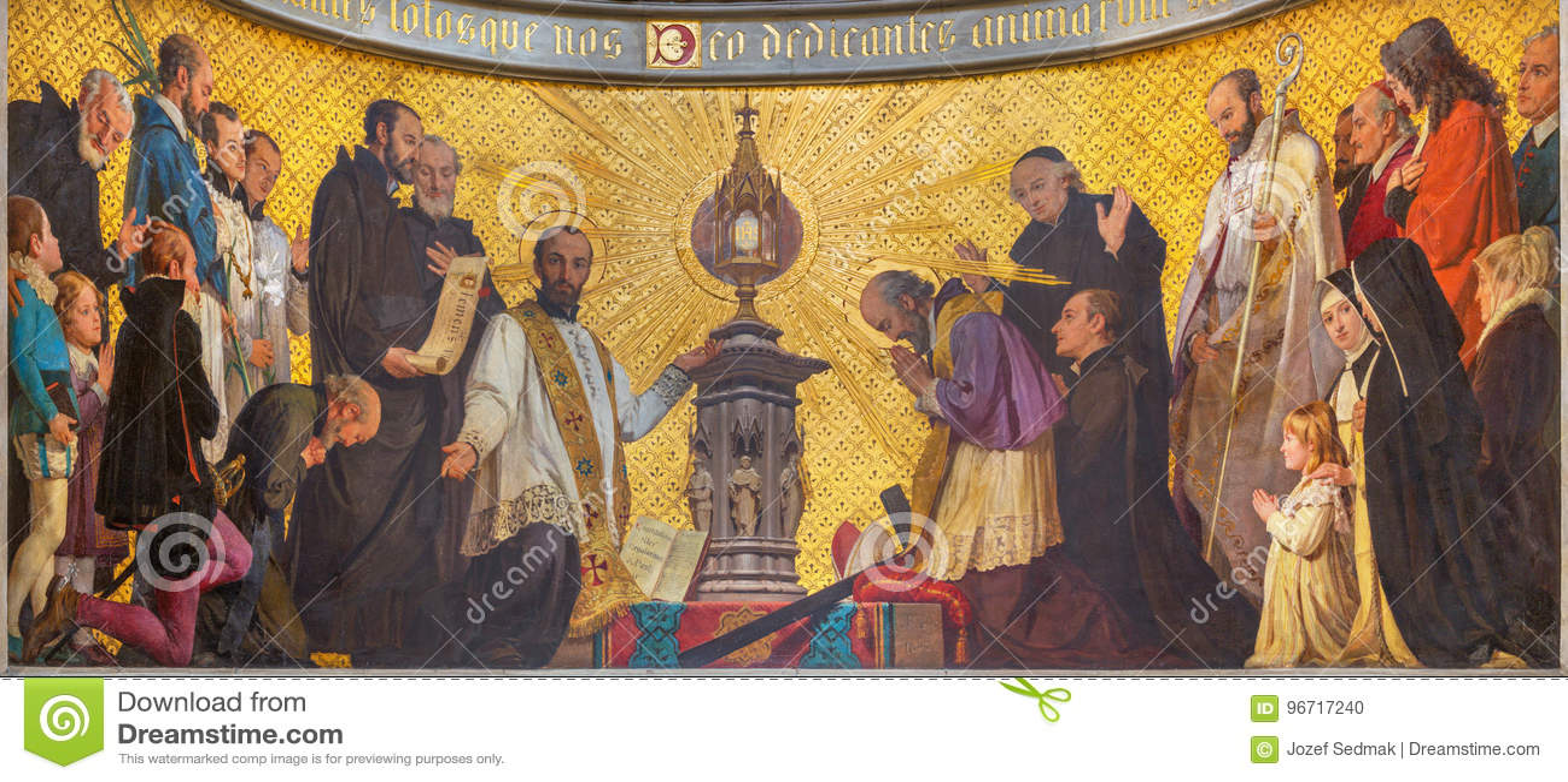 Turin - The symbolic fresco of The adoration of holys in front of Eucharist in church Chiesa di San Dalmazzo