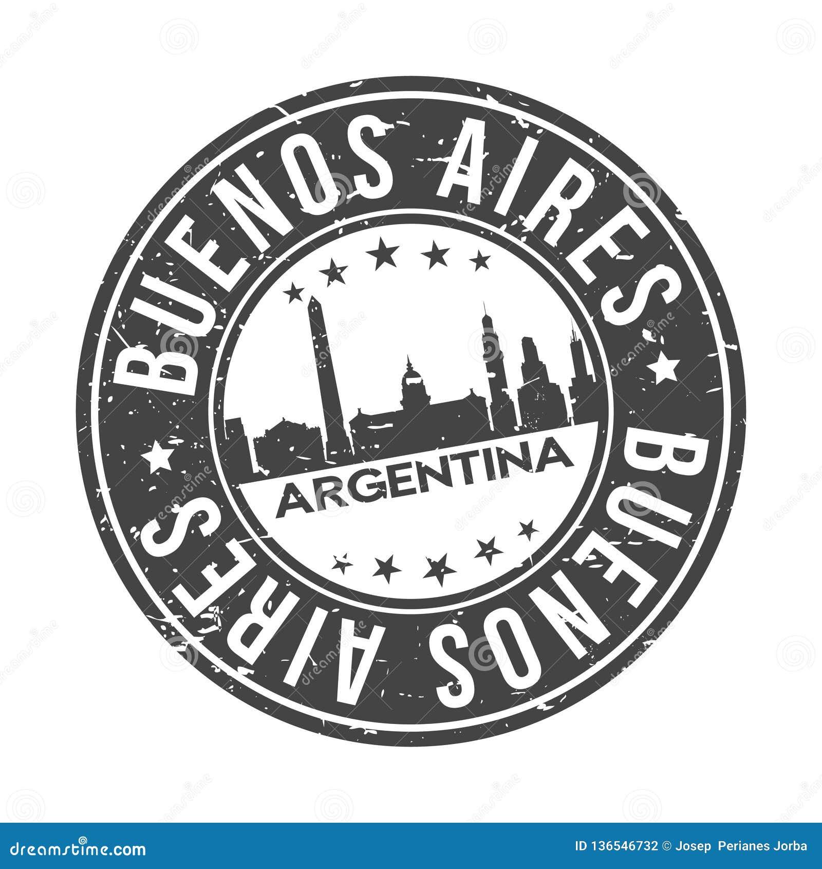 Turism för lopp för vektor för stämpel för design för horisont för stad för Buenos Aires Argentina rundaknapp