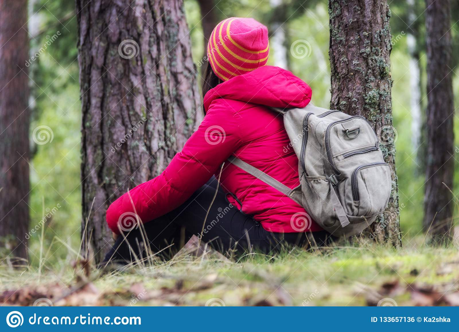 Turismo de la mujer Detrás del viajero en el bosque busca el camino La mujer joven hermosa es que viaja y de reclinación en el bo