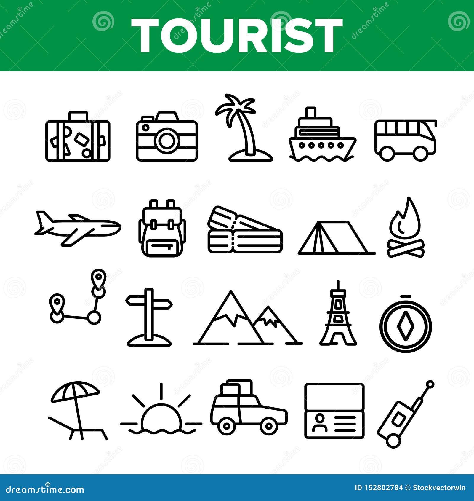 Turismo e curso em torno do grupo linear dos ícones do vetor do mundo