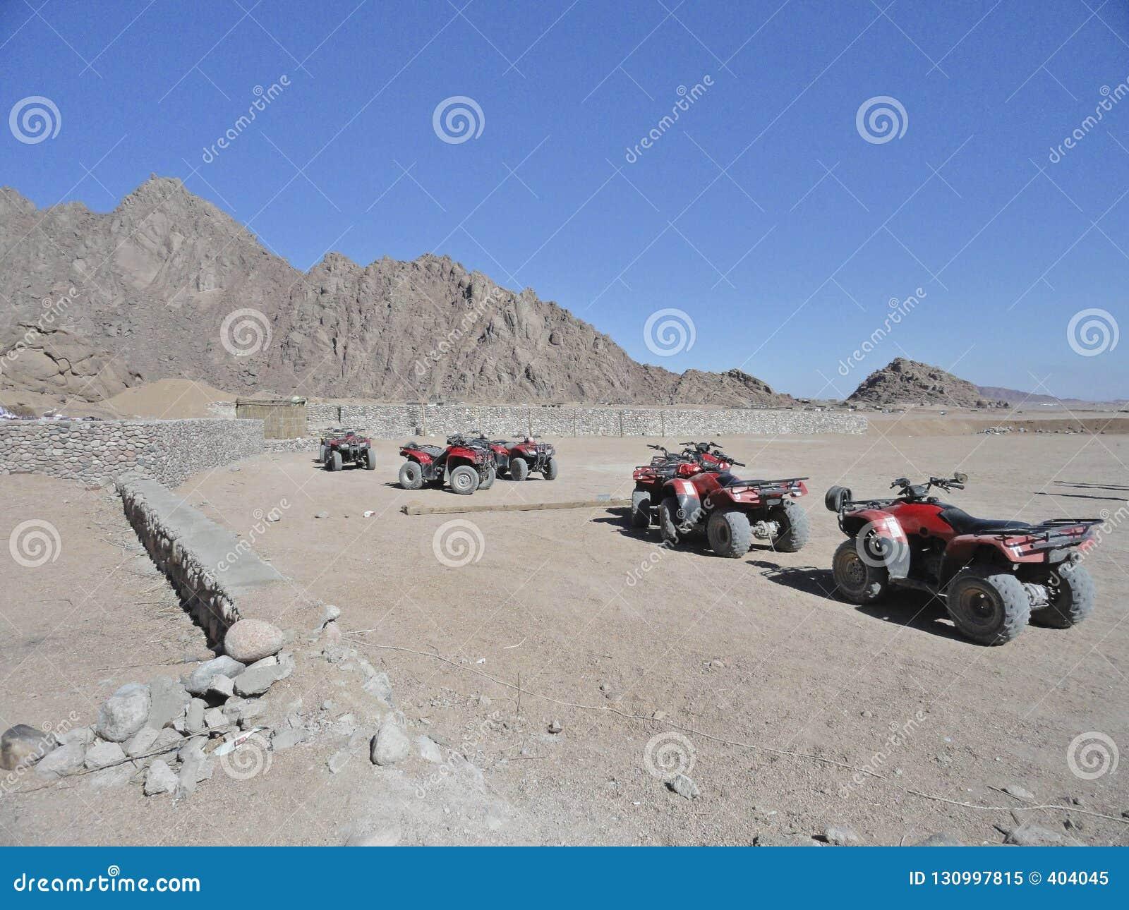 Turist- dragningar - rida en kvadratcykel på en stenig öken