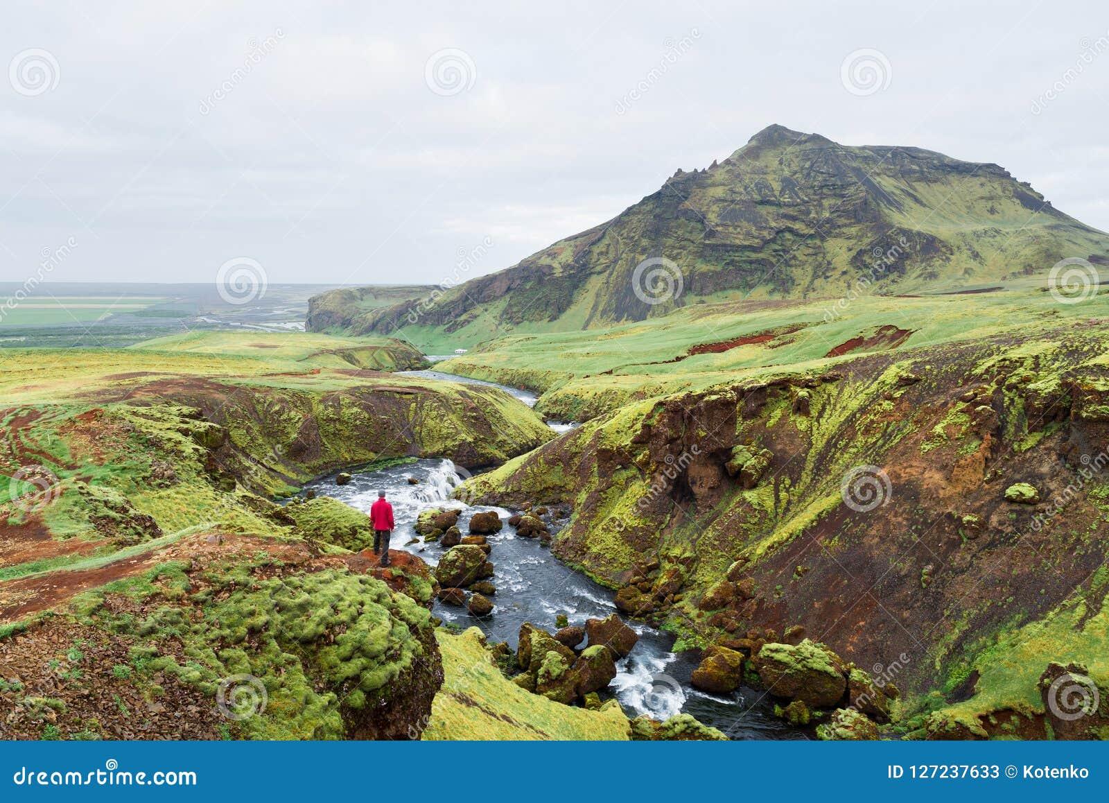 Turist på en vandring i Island nära den Skoga floden