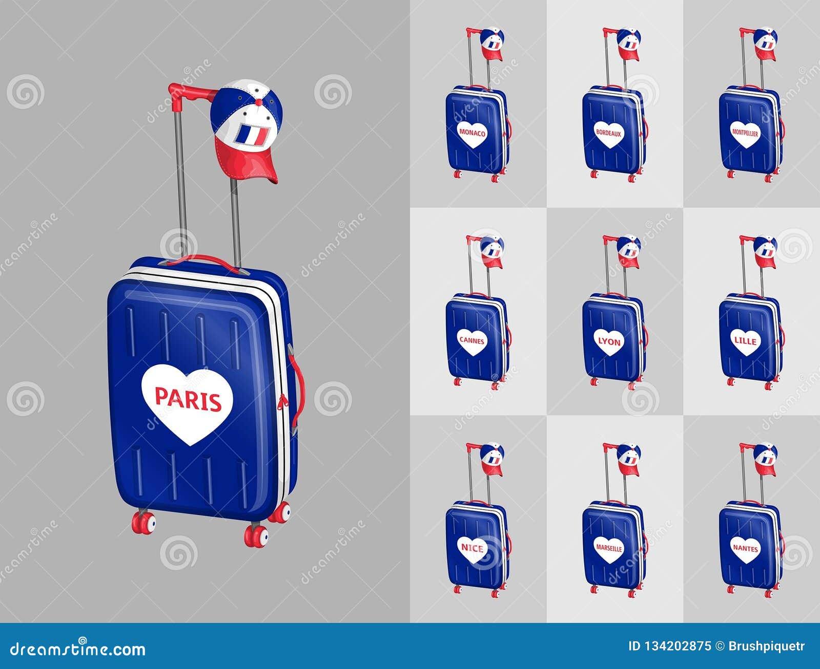 Turist Resvaskor Med Det Franska Locket For Lopp Till Frankrike Stader Vektor Illustrationer Illustration Av Lock Cartography 134202875