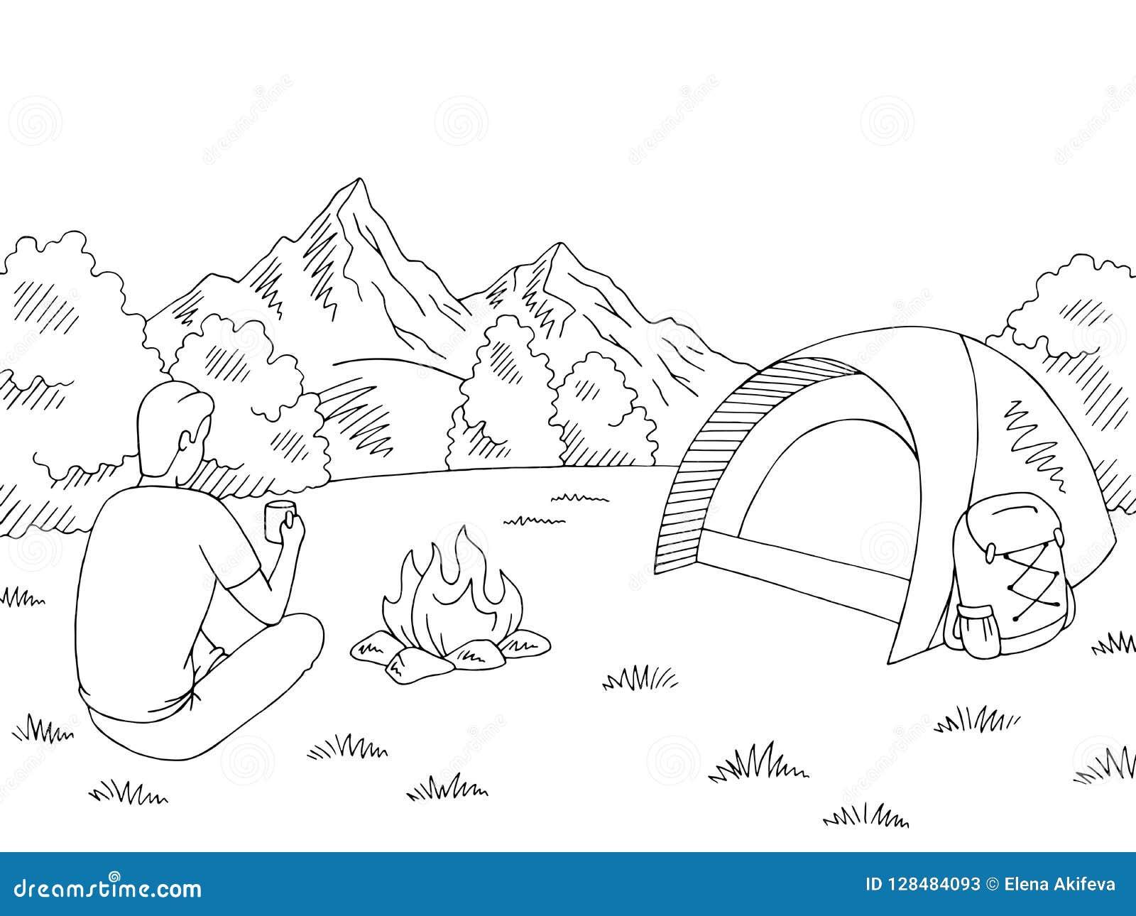 Turist- sammanträde nära brasan och dricka från en kopp Det campa svarta vita berglandskapet för diagrammet skissar illustrationv
