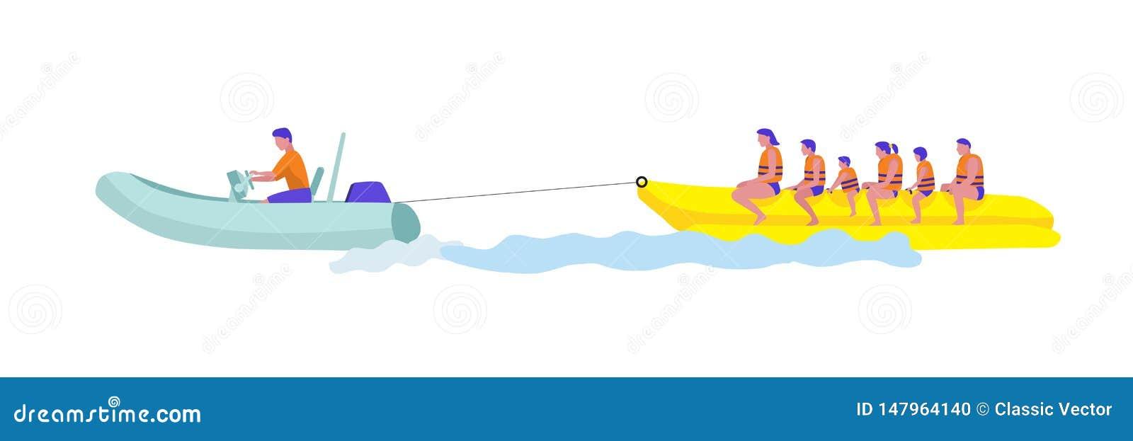 Turista en el ejemplo del vector del barco de plátano